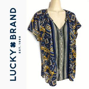 Lucky Brand Mixed Print Henley TShirt Sz 1x